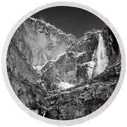 Yosemite Falls In Black And White II Round Beach Towel by Bill Gallagher