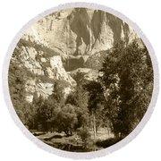 Yosemite Falls Sepia Round Beach Towel