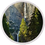 Yosemite Falls With Late Afternoon Light In Yosemite National Park. Round Beach Towel by Jamie Pham
