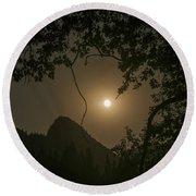 Yosemite Moonrise Round Beach Towel