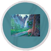 American Beauty Yosemite  Round Beach Towel