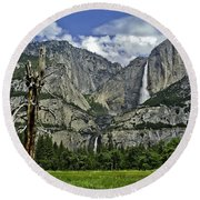 Yosemite Upper And Lower Falls Round Beach Towel