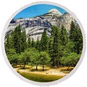 Yosemite Valley Along Yosemite River Beach Round Beach Towel