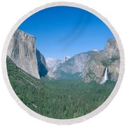 Yosemite Valley Round Beach Towel by David Davis