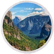 Yosemite Valley Overlook Round Beach Towel