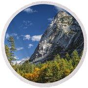 Yosemite Valley Rocks Round Beach Towel