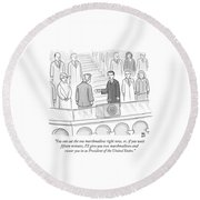 You Can Eat The One Marshmallow Right Now Round Beach Towel by Paul Noth