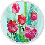 You Enlighten Me- Painting Of Tulips Round Beach Towel