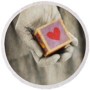 You Hold My Heart In Your Hand Round Beach Towel