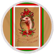 You Only Love Us For Our Breasts Christmas Card Round Beach Towel