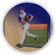 Young Baseball Athlete Round Beach Towel