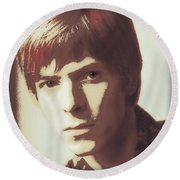 Young Bowie Pop Art Round Beach Towel