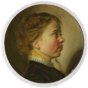 Young Boy In Profile  Round Beach Towel