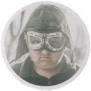 Young Boy Pilot. Battle Ready Round Beach Towel