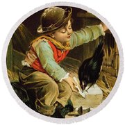 Young Boy With Birds In The Snow Round Beach Towel