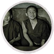Young Buddhist Monks Round Beach Towel