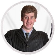 Young Business Man  Round Beach Towel