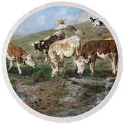 Young Cattle In Tyrol Round Beach Towel