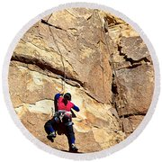 Young Climber In Joshua Tree Np-ca- Round Beach Towel