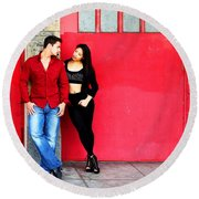 Young Couple Red Doors Round Beach Towel