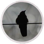 Monochrome Young Crow Round Beach Towel