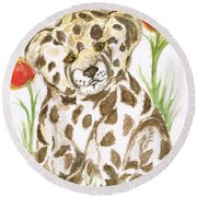 Young Cub Leopard Round Beach Towel