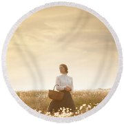 Young Edwardian Woman In A Meadow Round Beach Towel