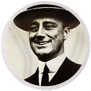 Young Franklin  Roosevelt Round Beach Towel