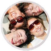 Young Friends Together Round Beach Towel