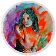 Young Girl 52622 Round Beach Towel