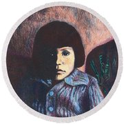 Young Girl In Blue Sweater Round Beach Towel