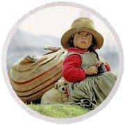 Young Girl In Peru Round Beach Towel