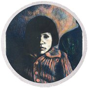 Young Girl Round Beach Towel