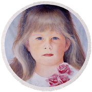 Young Girl With Roses Round Beach Towel