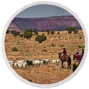 Young Goat Herders Round Beach Towel by Priscilla Burgers