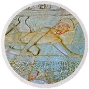 Young God-figure On Wall In Angkor Wat In Angkor Wat Archeological Park Near Siem Reap-cambodia Round Beach Towel