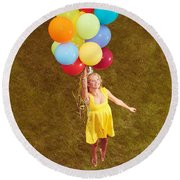 Young Happy Woman Flying On Colorful Helium Balloons Round Beach Towel