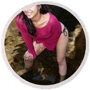 Young Hispanic Woman In Creek Round Beach Towel