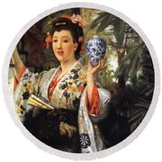 Young Japanese Lady Round Beach Towel