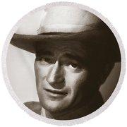 Young John Wayne Painting Traditional Round Beach Towel