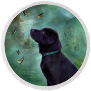 Young Lab And Buttys Round Beach Towel