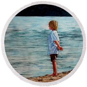 Young Lad By The Shore Round Beach Towel