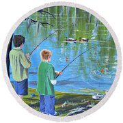 Young Lads Fishing Round Beach Towel