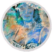 young lady in Papeete Round Beach Towel