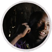 Young Maasai Warrior In The Village Round Beach Towel