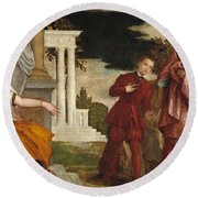 Young Man Between Vice And Virtue Round Beach Towel