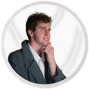 Young Man In Trench Coat Round Beach Towel