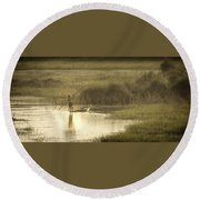 Young Man On The Nile Round Beach Towel
