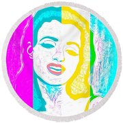 Young Marilyn Soft Pastels Impression Round Beach Towel