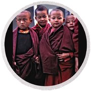 Young Monks II Round Beach Towel